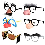 Ocean Line Funny Disguise Glasses, Groucho Marx Mustache Glasses Kit, 6 Pairs Novelty Clown Eyeglasses with Soft Nose for Halloween, Silly Eyebrows Party Favors