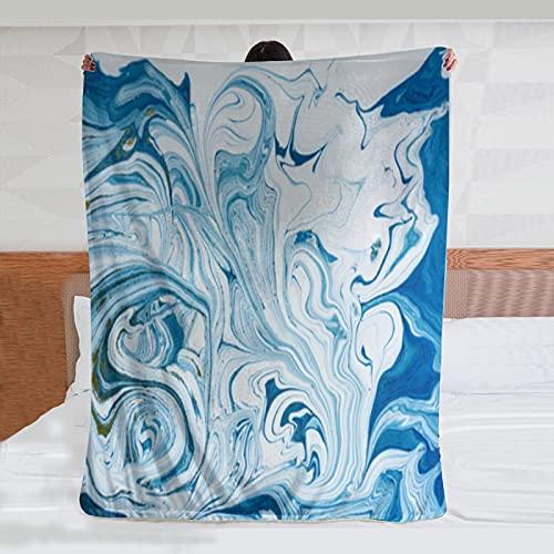 Lenzuolo di flanella coperta marmorizzata blu e dorato astratto sfondo liquido modello marmoAir-condizionato camera pet letto matrimoniale soggiorno divano spiaggia campeggio coperta wj 50x100 pollici