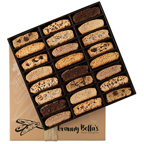 Granny Bella's Christmas Biscotti Gift Baskets, 24 Gourmet Italian Cookies, Corporate Food Box Idea Christmas Prime Delivery Holiday Cookie Basket Valentines Mothers Day Birthday Thanksgiving Gifts