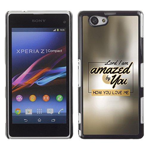 DREAMCASE Bibelzitate Bild Hart Handy Schutzhülle Schutz Schale Case Cover Etui für Sony Xperia Z1 Compact D5503 - Herr, ich bin von dir begeistert