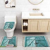 ZGDPBYF 浴室用アップホームバスマット木製ドア板レンガドアプリントバスマットシャワーフロア用カーペットバスタブマット