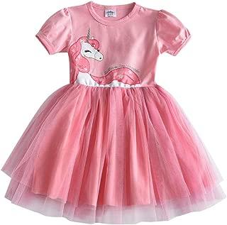 Girls Summer Dress Flare Sleeve Girls Tutu Dresses Kids Unicorn Princess Dress Children Costumes for Kids Cotton Clothes