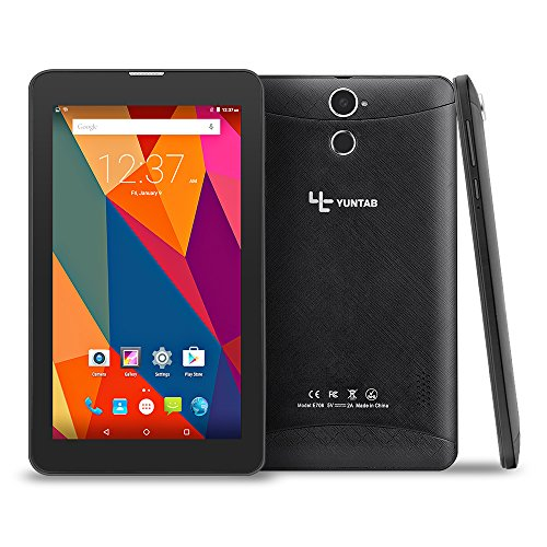 Yuntab E706 7 inch Google Android 6.0 Tablet 3G Unlocked phone Tablet PC 2G/ 3G/ Wifi 1GB+8GB MT83321 Quad-Core IPS 1024x600 Touch Screen With Bluetooth, Dual Camera, Netflix, Skype Supported (Black)