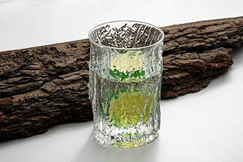 YZG Tree Pattern Highball Glasses Drinking Tumbler set of 6 - Old Fashioned Vintage Drinking Glasses Sets - for Soda, Juice, Beer and Cocktails, Perfect for Dinner Parties, Restaurants, 13oz(Clear) -  YZG FACTORY