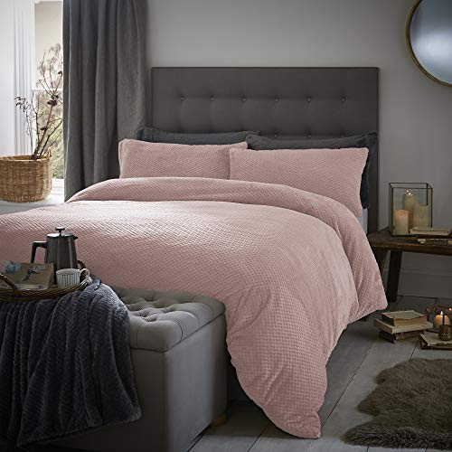 Silentnight Teddy Waffle Fleece Duvet Cover and Pillowcase Pair Bedding Set, Blush, Double