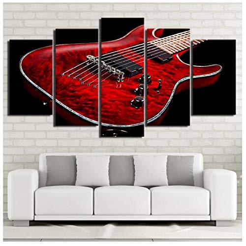 XXSCZ 5 Canvas Schilderijen Canvas HD Print Foto's Wall Art Framework 5 Stuks Muziek Rood Elektrische Gitaar Schilderijen Modulaire Posters Woonkamer Home Decor 30x40 30x60 30x80cm Met Frame