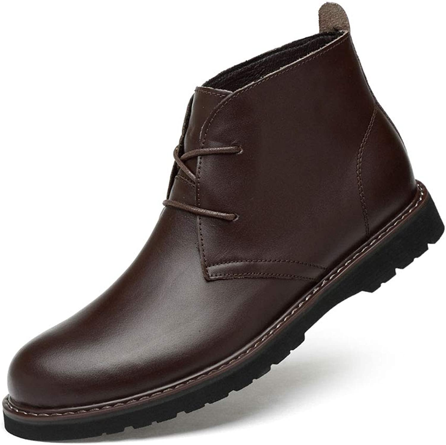 Tlgf Boots Men's Real Leather Boots With Leather Soles. In Black And Brown,Casual Leather shoes