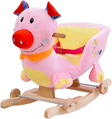 FJH Schaukelpferde Schaukelpferd Musik kinder Holz Pferd Baby Massivholz Doppeltem verwendungszweck Schaukelstuhl Baby Lernspielzeug Geschenk 60  28  41 cm
