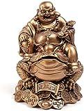 Figurines d'équipement de vie Statue de Bouddha riant pour bonne chance, richesse et bonheur Ornements chinois Bouddha Maitreya sur l'argent Figurine de grenouille Sculpture Ornements Le meilleur p