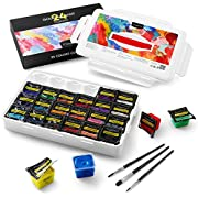 Magicfly Gouache Paint Set, 24 Colors x 30ml(1 oz) Unique Jelly Cup Design with 3 Paint Brushes and a Handhold Portable Carrying Case, Watercolor Gouache Painting Set for Artist, Student, Kids