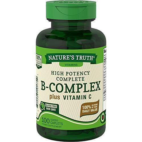 B Complex Vitamins Plus Vitamin C   100 Caplets   Vegetarian, Non-GMO & Gluten Free   by Nature's Truth