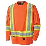 Pioneer Soft Moisture-Wicking High Visibility Long Sleeve Shirt, Premium Birdseye, Orange, L, V1051250-L