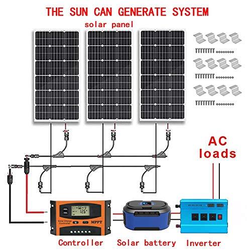12V 300W Solarstromnetz-Kit: 3x100W Polykristalline Silizium-Solarzellen + 1KW Reinen Sinus-Wellen-Inverter + Solar Battery + Solarkabel + 45A PWM-Laderegler.