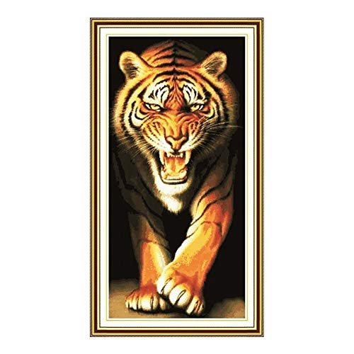 Mrjg Solar 14ct 11ct Zahl gedruckt Leinwand König des Monsters Kreuzstich Kit Tier Tiger Stickerei DIY handgemachte Handnähen gartenbeleuchtung (Color : 11ct Print Canvas)
