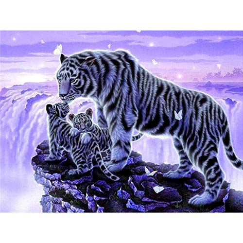 ZHONGYU Printed Fabric Cross Stitch Kit, Alpine Tiger Embroidery Kits For Beginners, Kids and Adults with Printed Pattern 11Ct(40 * 50)