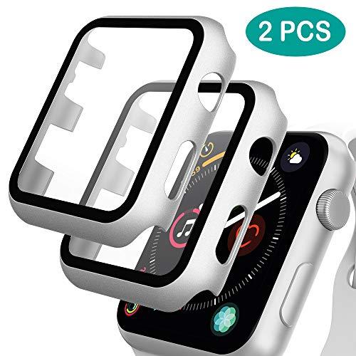 GeeRic 2PCS Pellicola Vetro Temperato Compatibile per Apple Watch 42mm Serie 3/2/1 HD Cover Resistente Urti Pellicola Copertura Completa Custodia Compatibile per Apple Watch 42mm Serie 1/2/3 Argento
