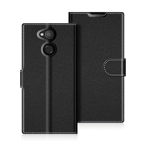 COODIO Handyhülle für Sony Xperia L2 Handy Hülle, Sony Xperia L2 Hülle Leder Handytasche für Sony Xperia L2 Klapphülle Tasche, Schwarz