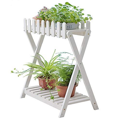 Plantenstandaard Met 2 Niveaus - Houten Opbergrek Voor Tuin Verplaatsbare Plank Voor Bloempot Met Universeel Wiel-Wit_68 * 37 * 71CM