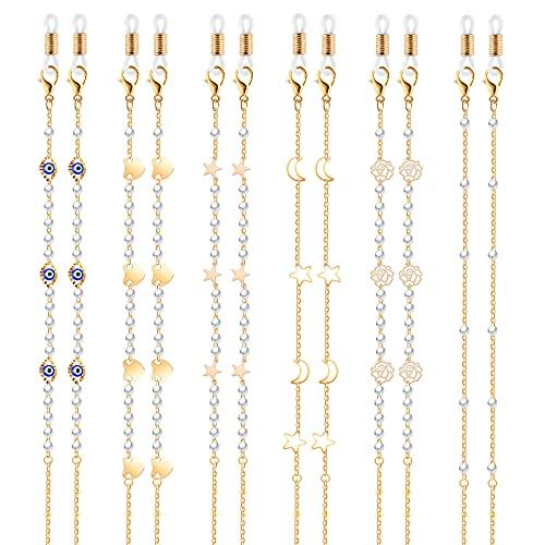 TOYMIS 6 PiezasCadenas para Gafas Correas para Gafa Mascarilla Cadena Gafas Cordones Cadenas para Gafas Accesorios Collares Pulseras para Mujeres y Niñas (Oro)