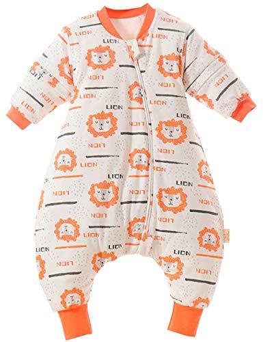Chilsuessy Baby Schlafsäcke abnehmbar Ärmel Winter kinder Schlafsack mit Füßen, 2.5 Tog ganzjahres Schlafsack Junge Mädchen unisex Overall Schlafanzug, Orange Löwe, 80/Baby Höhe 80-90cm