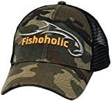Fishoholic Camo Baseball Snapback Fishing Hat Silver Orange Logo on Front and Bend Your Rod on Back. Fishaholic Registered Trademark. Fly Fish for Bass Trout in Fresh or Saltwater. (Snap-Camo)
