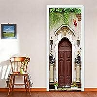 3Dドア壁画壁紙 自己粘着性の壁紙ドアのレトロなPvcステッカー防水装飾デカール