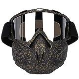 Naroote Masque Goggles,Lunettes de Casque de Moto Masque Facial, Lunettes d'objectif d¨¦tachables...