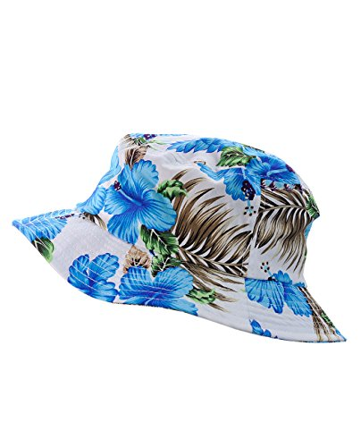 NYfashion101 Fashionable Unisex Satin Lined Printed Pattern Cotton Bucket Hat (Blue Floral Large)