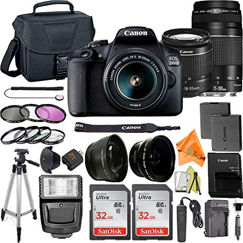 Canon EOS 2000D / Rebel T7 Digital SLR Camera 24.1MP with 18-55mm + 75-300mm Lens, ZeeTech Accessory Bundle, 2 Pack SanDisk 32GB Memory Card, Telephoto + Wideangle Lenses, Flash, Case