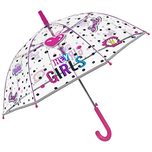 PERLETTI Regenschirm Transparent Rosa Reflektierend Kleine Mädchen - Kinderregenschirm Automatik Durchsichtig Herzen Punkten Kinder 4/6 Jahre - Windsicher Regen Schirm Pink - Durchmesser 74 cm
