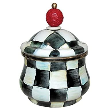 MacKenzie-Childs Enamel Lidded Sugar Bowl-Courtly Check