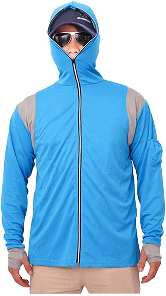 Mens Long Sleeves uv Protection UPF 50 Hoodie Sweatshirts Casual Tops Fishing Suit Zipper Blouse Running Jogger Shirt
