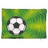 Maorongbu sostiene la funda de almohada doble de fútbol deportivo y patrón de césped verde para cama o sofá para decorar en casa y cocina, hotel o firme, el mejor regalo del día de la madre, Navidad, cumpleaños para mujeres, papá, amigos.