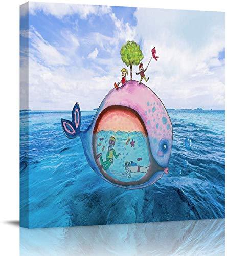 Impression sur toile Art mural Peintures à l'huile Baleine mignonne Natation Personne Impressions sur toile Oeuvre d'art pour le salon Salle de bain Chambre, étiré et encadré prêt à accroche