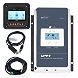 EPEVER 60A MPPT Solar Charge Controller 12/24/36/48VDC Automatically Identifying System Voltage with MT50 Remote Meter & Temperature Sensor RTS & Communication Cable RS485