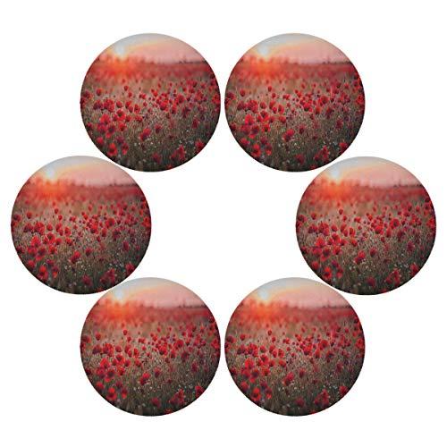 Hunihuni Rundes Platzdeckchen mit roter Mohnblume, rutschfest, hitzebeständig, für Küche, Esstisch, 1 Stück, Polyester, Mehrfarbig, 15.4x15.4inx6