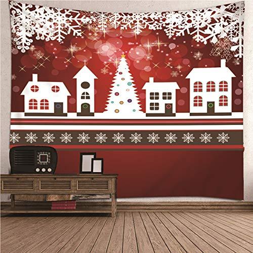 Amody Wandteppich Tapisserie Tagesdecke, Schneeflocken & Häuser Wandtuch für Wohnzimmer Schlafzimmer Wohnkultur Weiß Rot Wandtuch Vorhang 240x220CM