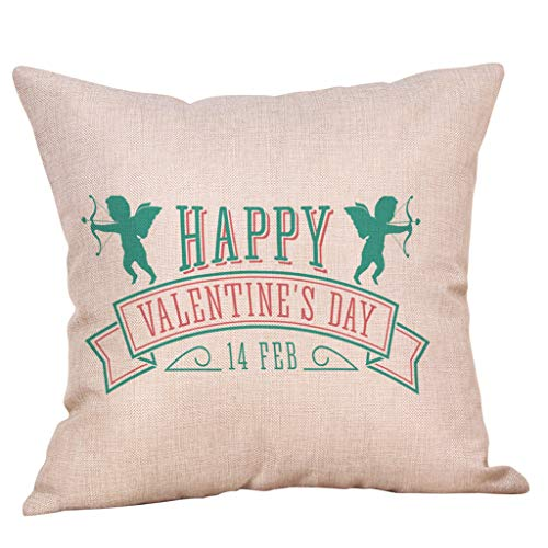 Yvelands Saint Valentin Style Lin Carré Taie d'oreiller Imprimé Romantique Doux Coussins Lombaires Coussins RelèVe-Jambes(I)