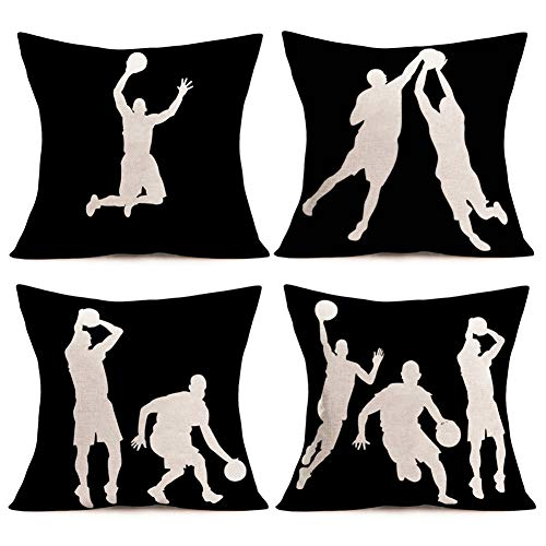 Smilyard Basketball Throw Pillow Covers Set of 4 18x18 InchMen are Playing Basketball Pattern Decorative Pillow Case Cotton Linen Cushion Cover Ball Lover Gift Decor Home Sofa (Black Basketball Set)