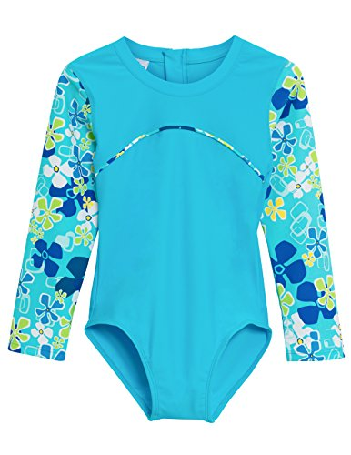 Tuga Girls One-Piece Swimsuit (UPF 50+), Ocean, 2/3 yrs
