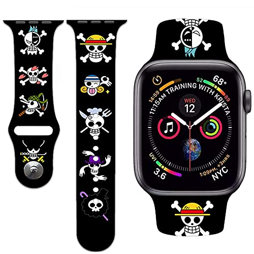 Anime Watch Band Compatible with Apple Watch,Apple Watch Bands for Men women kid All Series 38mm 40mm 42mm 44mm Design Funny pirate flag Graphics Strap