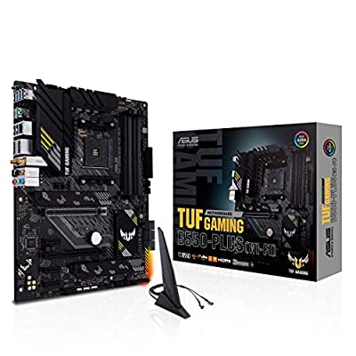 ASUS TUF Gaming B550-PLUS WiFi AMD AM4 Zen 3 Ryzen 5000 & 3rd Gen Ryzen ATX Gaming Motherboard (PCIe 4.0, WiFi 6, 2.5Gb LAN, BIOS Flashback, USB 3.2 Gen 2, Addressable Gen 2 RGB Header and Aura Sync)