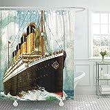 Leona Chesterton Cortina de Ducha Vintage Rms Titanic Ocean Liner Moffa Retrocommunications Travel Transatlantic Home Decor Impermeable Baño Baño Cortinas Set con Ganchos