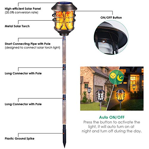 TomCare Solar Lights Metal Solar Torch Lights Flickering Flame Outdoor Lighting Decorative Landscape Pathway Garden Lights Waterproof Solar Powered Dusk to Dawn Auto On/Off for Patio Yard Pool 4 Pack
