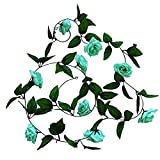YYHMKB Guirnalda de Rosas Artificiales Tiffany Blue Floral Vine 8 pies Cadena de Flores de Rosas Falsas Guirnalda Colgante de Flores Falsas para la decoración de la Pared de la Chimenea de la Boda