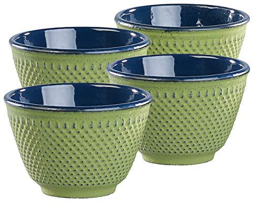 Rosenstein & Söhne Teeschalen Matcha: 4er-Set asiatische Teebecher aus Gusseisen und Emaille, olivgrün (Cups)