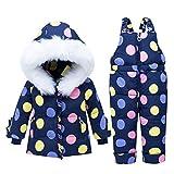 Bébé Filles Hiver Combinaison de Neige Ski Encapuchonné Duvet Veste Pantalons de Neige Enfant Combinaison de Ski 2 Pièces Ensemble Tenue Vêtements Bleu 3-4 Ans
