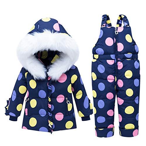 Baby Mädchen Winter Schneeanzug mit Kapuze Daunen jacke + Schneehose Kinder 2 Stück Set Outfit Kleidung Blau 3-4 Jahre