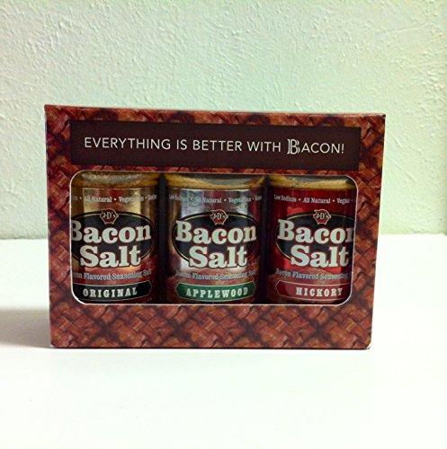 BBQ Grill Master Bacon Salt Sampler with Gift Box (3pk)- Original Bacon Salt (2oz), Applewood Bacon Salt (2.5oz) & Hickory Bacon Salt (2oz)