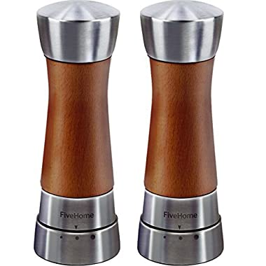 FiveHome Wood Salt and Pepper Grinder Set, Premium Beech Stainless Steel Mill with Adjustable Coarseness-Gift Box